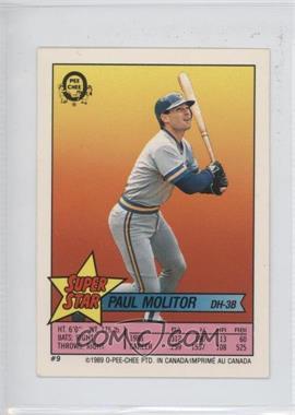 1989 O-Pee-Chee Super Star Sticker Backs - [Base] #9.4 - Paul Molitor (68, 206)