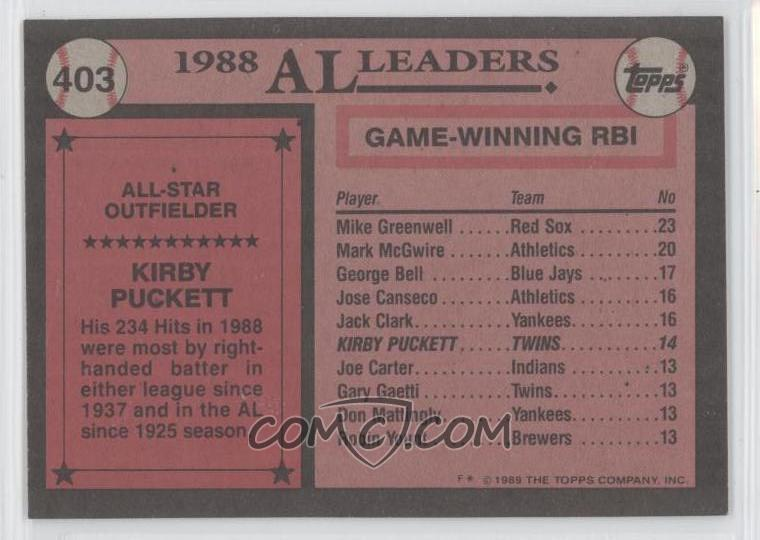 1989 topps base 403 kirby puckett comc card