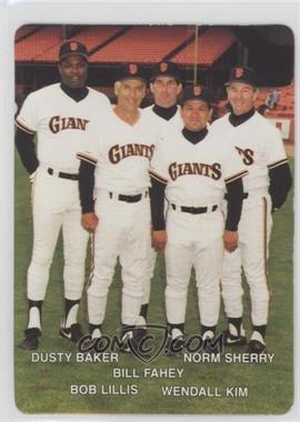 1990 Mother's Cookies San Francisco Giants - Stadium Giveaway [Base] #27 - Bill Fahey, Wendall Kim, Norm Sherry, Dusty Baker, Bob Lillis