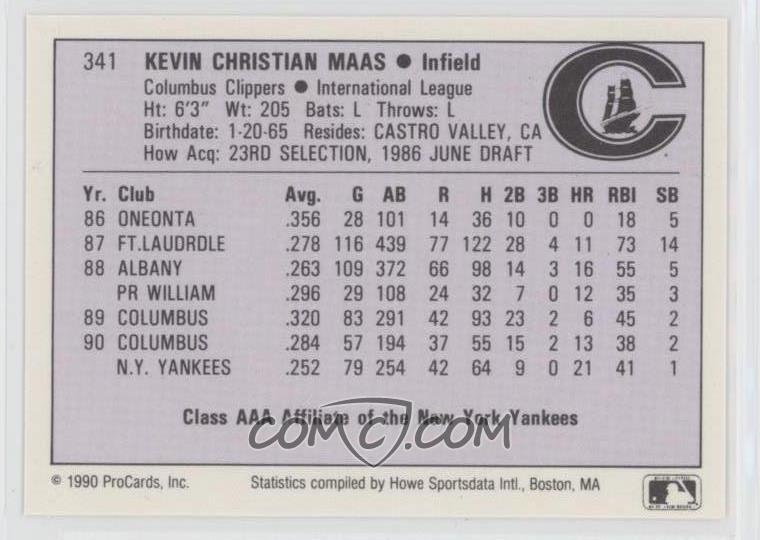 1990 ProCards AAA Future Stars - [Base] #341 - Kevin Maas