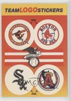 Baltimore Orioles, Boston Redsox, Chicago Whitesox, California Angels (Blue in …