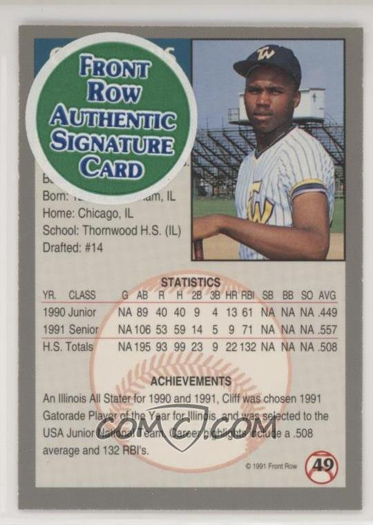1991 Front Row Draft Picks Base Autographs
