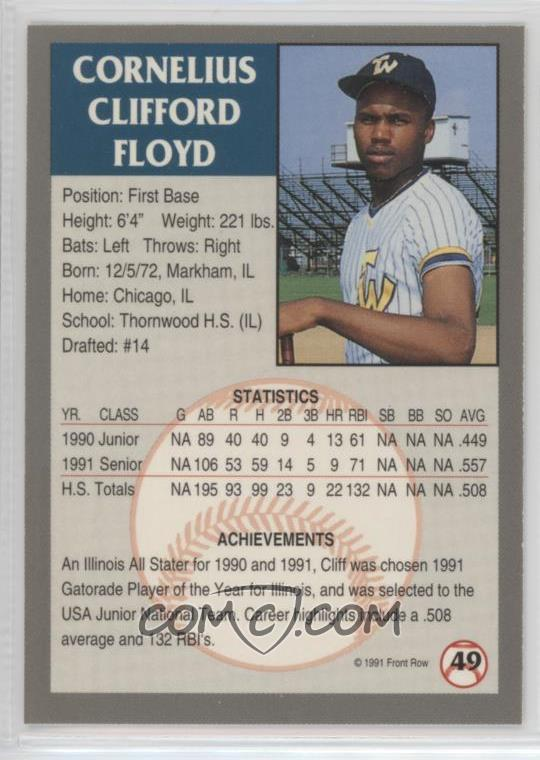 1991 Front Row Draft Picks Base 49 Cliff Floyd