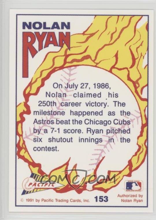 1991 Pacific Nolan Ryan Texas Express Series 2 Base 153