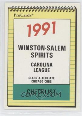1991 ProCards Minor League - [Base] #2847 - Winston-Salem Spirits Team