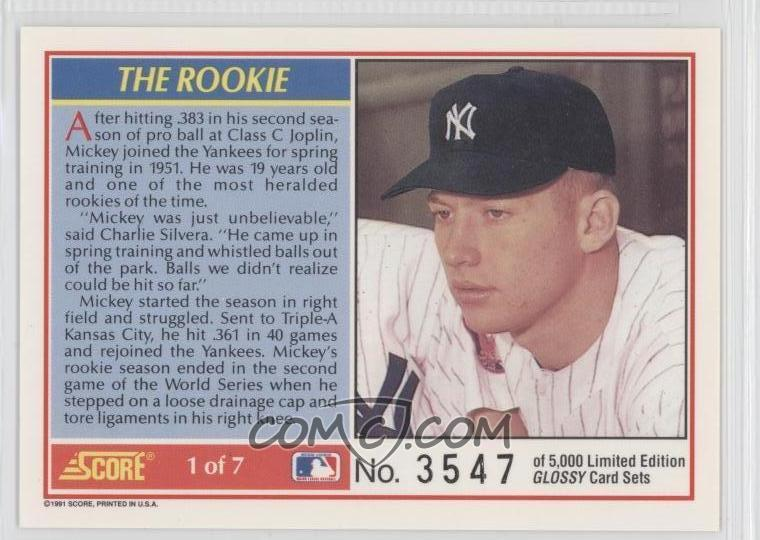 1991 Score Mickey Mantle Glossy 1 Mickey Mantle