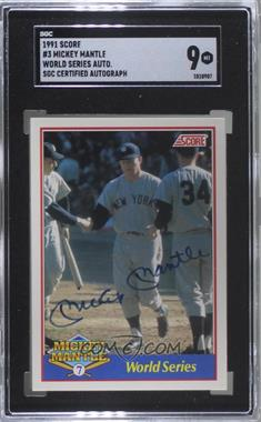 1991 Score - Mickey Mantle - Glossy #3.2 - Mickey Mantle (Autographed) /2500 [SGC9MINT]