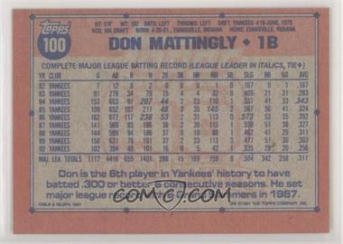 1991 Topps - [Base] - Blank Front #100.1 - Don Mattingly