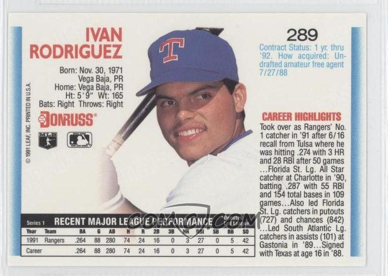 1992 Donruss Base 289 Ivan Rodriguez