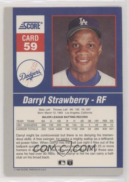 1992 Score Impact Players 59 Darryl Strawberry
