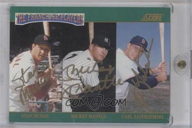 1992 Score - The Franchise - Autographs [Autographed] #4 - Carl Yastrzemski, Mickey Mantle, Stan Musial /500 [PSA/DNACertifiedAuto]