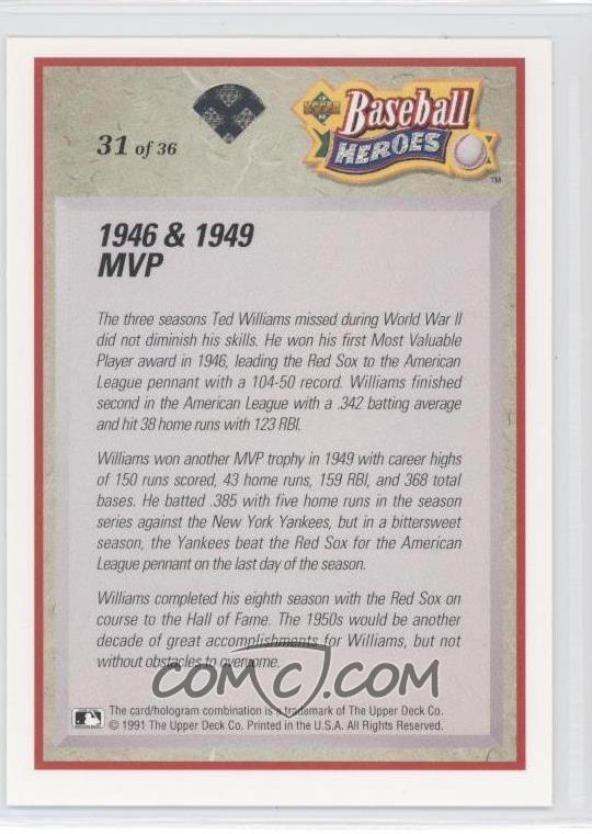 1992 Upper Deck Baseball Heroes Ted Williams 31 1946