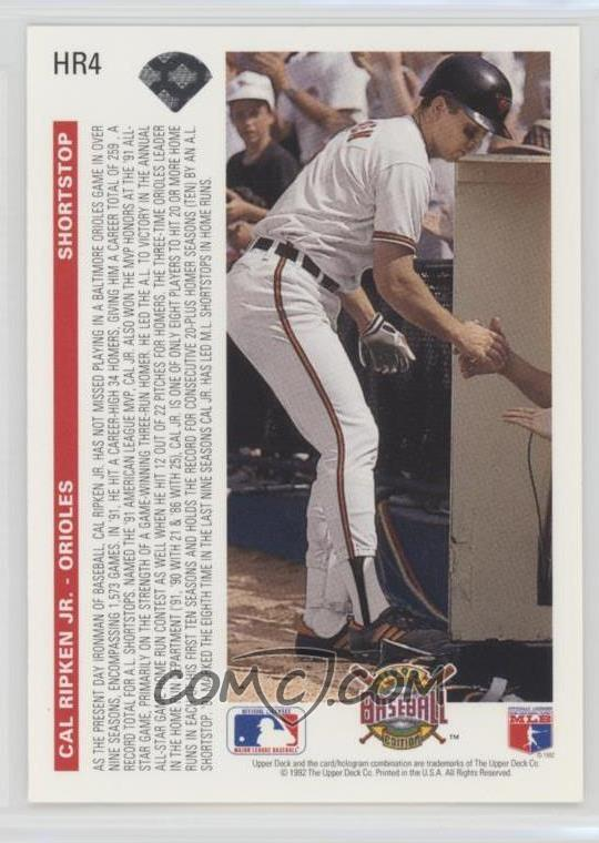 1992 Upper Deck Homerun Heroes Hr4 Cal Ripken Jr