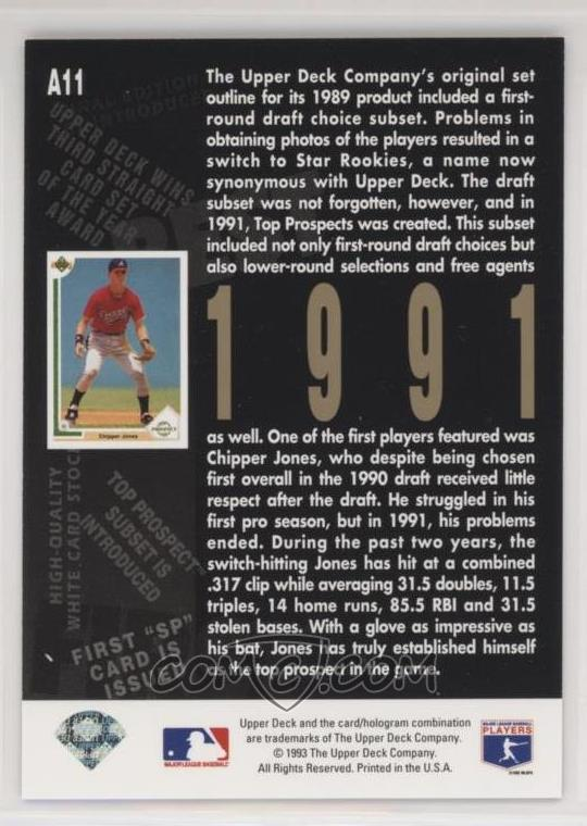 1993 Upper Deck Fifth Anniversary A11 Chipper Jones