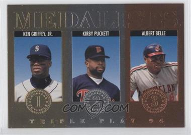 1994 Donruss Triple Play - Medalists #11 - Kirby Puckett, Albert Belle, Ken Griffey Jr.