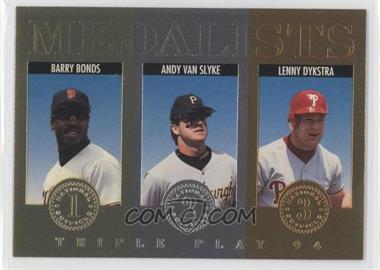 1994 Donruss Triple Play - Medalists #12 - Barry Bonds, Andy Van Slyke, Lenny Dykstra