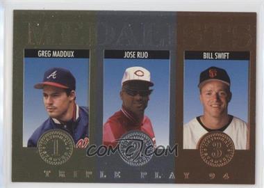 1994 Donruss Triple Play - Medalists #14 - Greg Maddux, Jose Rijo, Bill Swift