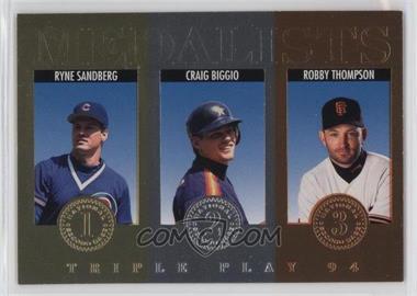 1994 Donruss Triple Play - Medalists #6 - Ryne Sandberg, Craig Biggio, Robby Thompson