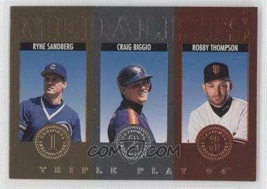 1994 Donruss Triple Play - Medalists #6 - Ryne Sandberg, Craig Biggio, Robby Thompson