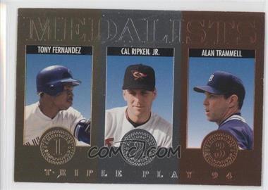 1994 Donruss Triple Play - Medalists #7 - Tony Fernandez, Cal Ripken Jr., Alan Trammell