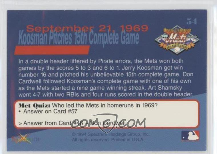 1994 Spectrum The Miracle of '69 New York Mets - [Base] #54