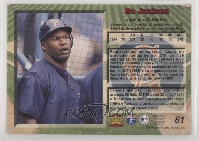1995 Pacific Crown Collection Base 61 Bo Jackson