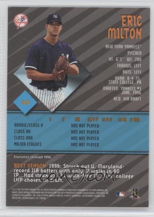 1997 Bowmans Best Base 198 Eric Milton