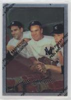 Hank Bauer, Yogi Berra, Mickey Mantle (1953 Bowman Color)