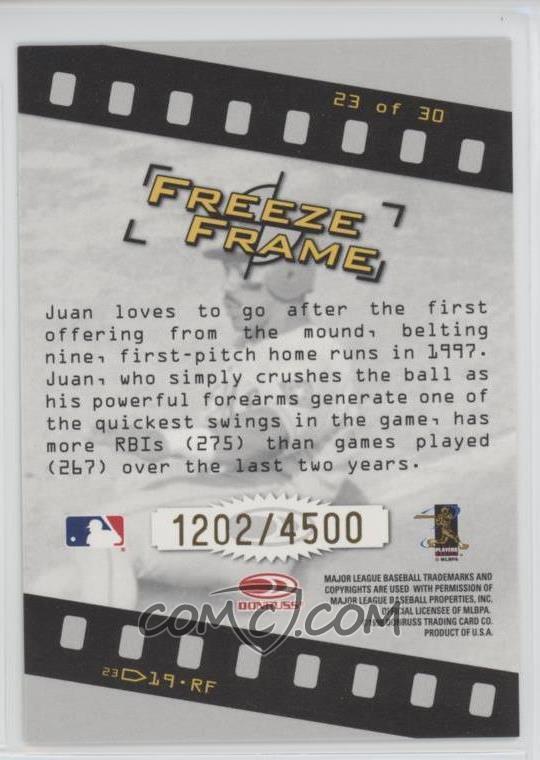 1998 Donruss Studio - Freeze Frame #23 - Juan Gonzalez /4000 - COMC ...