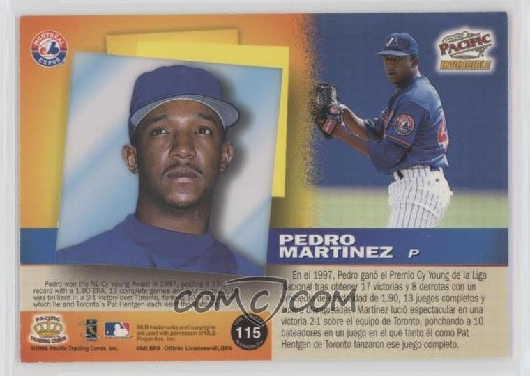 1998 Pacific Invincible - [Base] - Silver #115 - Pedro Martinez