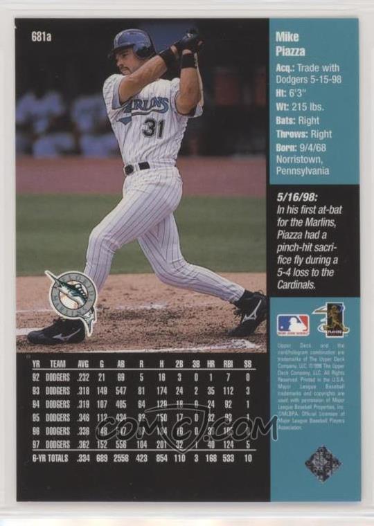 1998 Upper Deck - [Base] #681 2 - Mike Piazza (Florida Marlins)