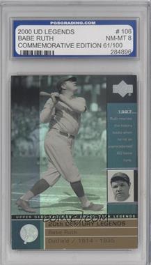 2000 Upper Deck Legends - [Base] - Commemorative Collection #106 - Babe Ruth /100 [ENCASED]