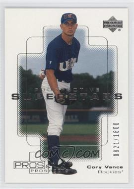 2000 Upper Deck Pros & Prospects - [Base] #144 - Cory Vance /1600