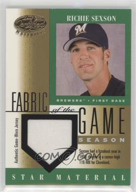 2001 Leaf Certified Materials - Fabric of the Game - Season Stats #FG-85 - Richie Sexson /116
