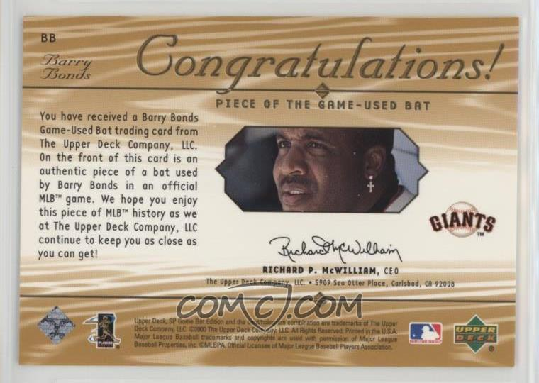 2001 SP Game Bat Edition - Piece of the Game #BB - Barry ...
