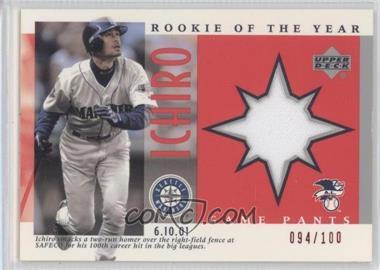 2001 Upper Deck Ichiro Suzuki Rookie of the Year - Game Pants #J-I3 - Ichiro Suzuki /100