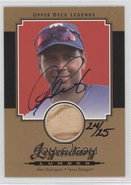 2001 Upper Deck Legends - Legendary Lumber - Gold Signatures [Autographed] #GSL-AR - Alex Rodriguez /25