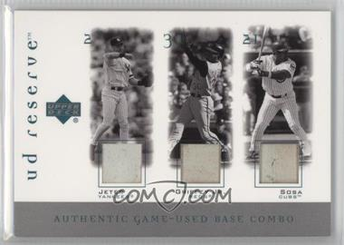 2001 Upper Deck Reserve - Game-Used Base and Ball Combos #B-JGS - Derek Jeter, Sammy Sosa, Ken Griffey Jr.
