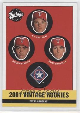 2001 Upper Deck Vintage - [Base] #348 - Rangers Rookies (Joaquin Benoit, B.J. Waszgis, Brian Sikorski)