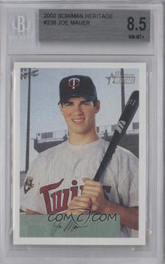 2002 Bowman Heritage - [Base] #238 - Joe Mauer [BGS 8.5 NM‑MT+]
