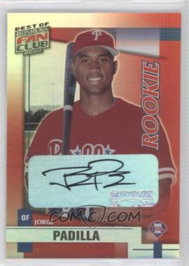 2002 Donruss Best of Fan Club - [Base] - Rookie Autographs [Autographed] #255 - Jorge Padilla /1350