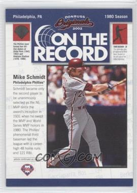 2002 Donruss Originals - On the Record #OR-15 - Mike Schmidt /800