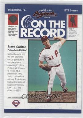 2002 Donruss Originals - On the Record #OR-5 - Steve Carlton /800