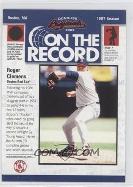 2002 Donruss Originals - On the Record #OR-8 - Roger Clemens /800