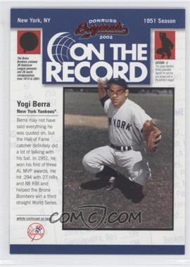 2002 Donruss Originals - On the Record #OR-9 - Yogi Berra /800