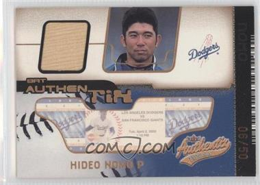 2002 Fleer Authentix - Bat Authentix - Unripped #BA-HN - Hideo Nomo /50