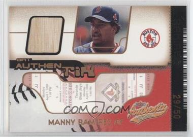2002 Fleer Authentix - Bat Authentix - Unripped #BA-MR - Manny Ramirez /50