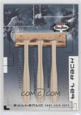 2002 Fleer Box Score - Bat Rack trios #JSJ - Chipper Jones, Gary Sheffield, Andruw Jones /300