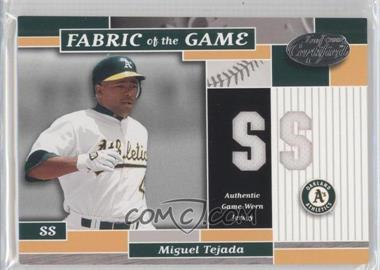 2002 Leaf Certified - Fabric of the Game - Silver Die-Cut Position #FG 36 - Miguel Tejada /50