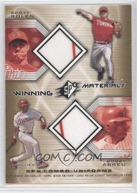2002 SPx - Winning Materials Combo Jerseys #WM-RA - Scott Rolen, Bobby Abreu